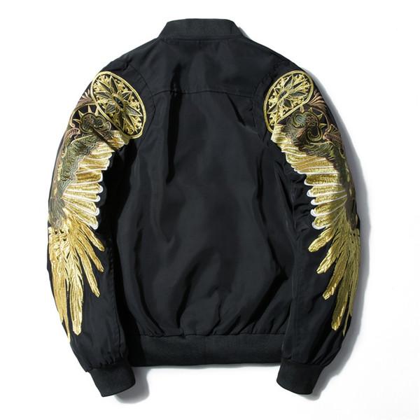 Hommes Printemps Automne Veste Broderie Or Eagle Wings Veste Bomber De Mode Outwear Hommes Manteau