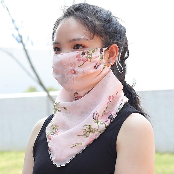 Flower Suncreen Scarf Spring Summer Bib Large Mask Outdoor Travel Neck Fashion Hair Band Full Face Best Anti-UV Chiffon Thin Veil Bandana