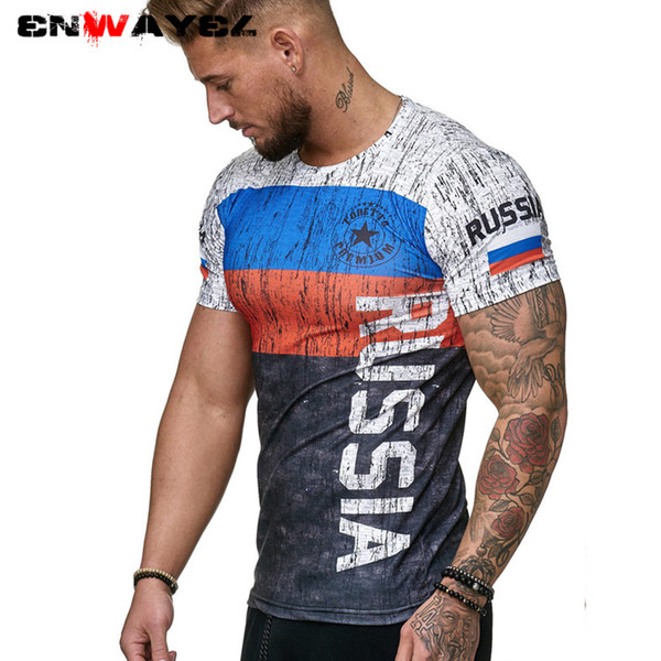 wholesale 2019 Summer New Slim Fit T Shirt Men Tops Tees Casual Male t-shirt Short Sleeves Print Muscle Man tshirt Fitness russian