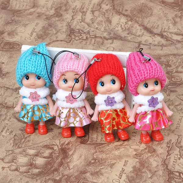 best selling 8cm cute children's toy pendant soft interactive baby doll toy phone chain, mini doll keychain girl key ring key ring