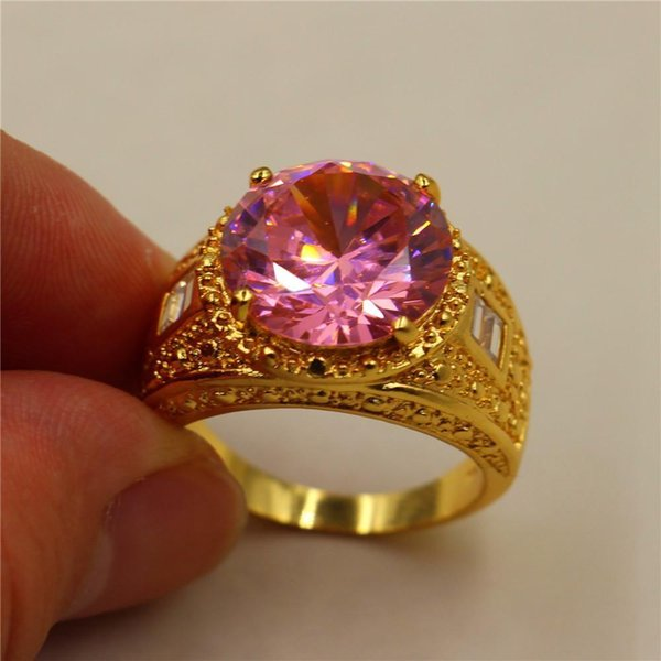Pop High USpecial Size 8/9/10/11 Vintage 15ct Round Pink Simulated Diamond CZ Stone 18K Yellow Gold Filled Ring for Men