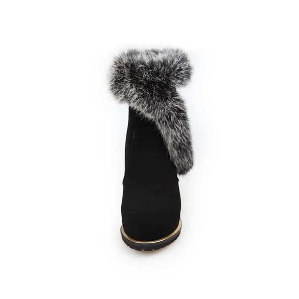 2019 New Winter Faux Fur Fashion High Heels Shoes Woman Platform Warm Snow Luxury Femme Ladies Korean Black