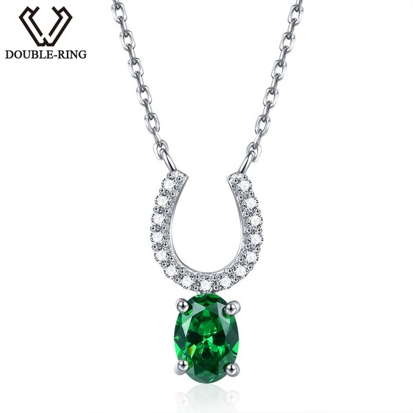 0.75ct Created Emerald Necklaces & Pendants 100% 925 Sterling Silver 45cm Chain Fine Jewelry Necklaces For for Charm women Fine Jewelry