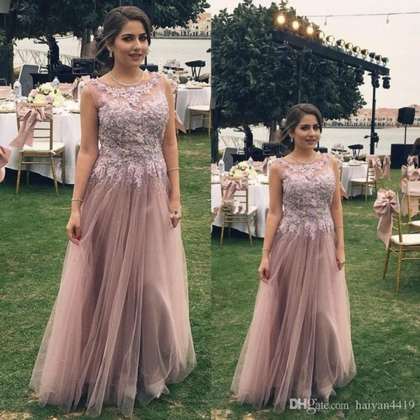 Prom Dresses Dusty Pink Scoop Neck Lace Applique Beaded Crystal Illusion Floor Length A Line Sleeveless Party Dress Evening Gowns Wear