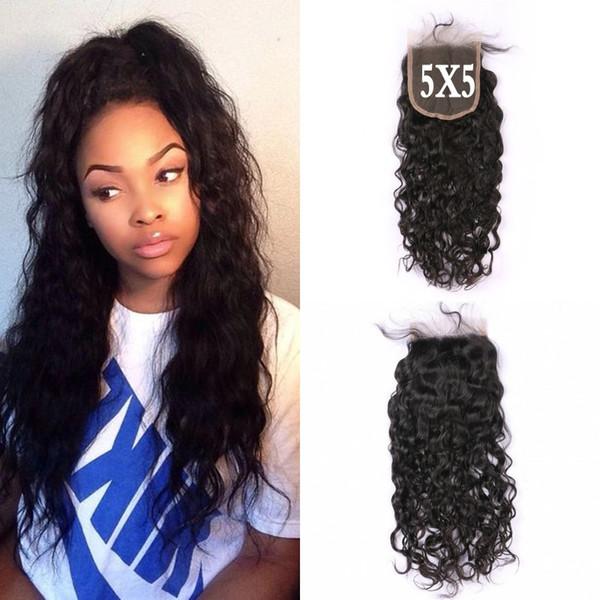 Malezya Saç 5x5 Su Dalga Dantel Kapatma İşlenmemiş Virgin İnsan Saç Ücretsiz Orta Kısmı Doğal Siyah Ücretsiz Kargo LaurieJ Saç