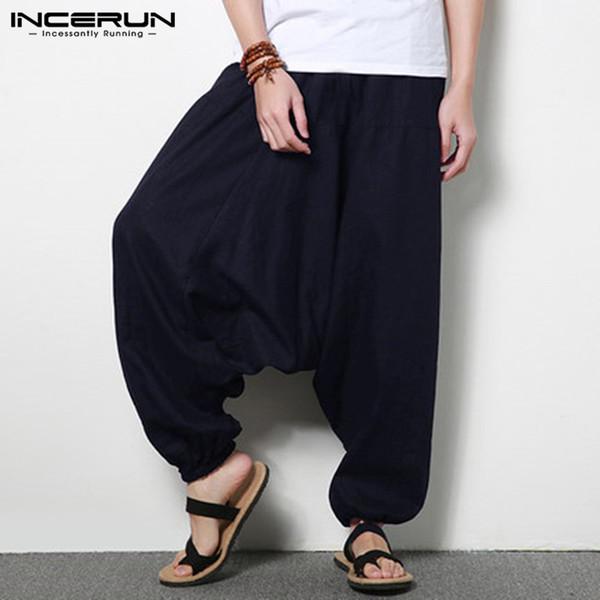 INCERUN Streetwear Erkekler Harem Pantolon Hip-Hop Pamuk Joggers Geniş Bacak Pantolon Gevşek Nepal Pantolon Erkekler Katı Damla Kasık Corss-pantolon