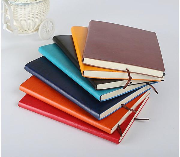 Cahier classique A5 en cuir PU souple, couverture rigide, agenda, bloc-notes vintage d'affaires, bloc-notes 200 feuilles (7 couleurs)