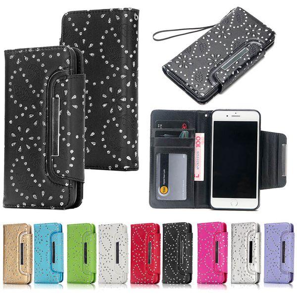 아이폰 Xs 최대 Xr S10 메이플 리프 다이아몬드 지갑 케이스 럭셔리 PU 가죽 휴대 전화 케이스 소프트 TPU 신용 카드 슬롯 커버