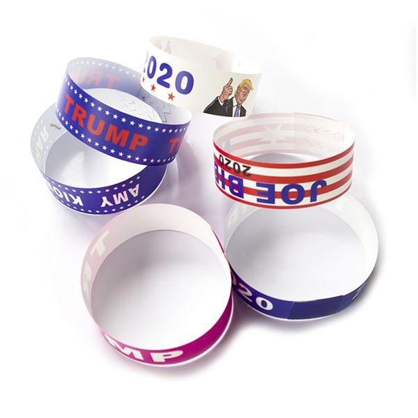 Donald Trump 2020 Pulseiras de Eleição Tear Tyvek À Prova De Papel Nontoxic Pulseira Esportes À Prova D 'Água Trump Suportes Wrist Band Presentes A52904