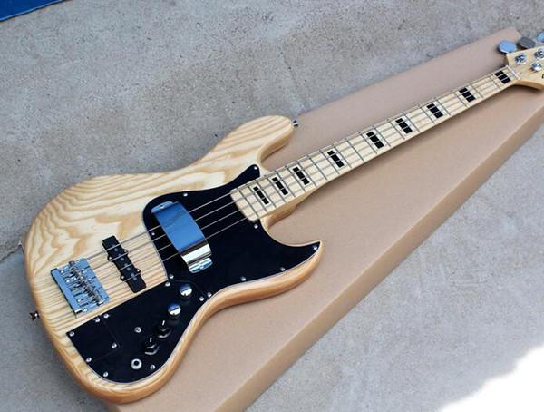 Fábrica libre del envío cuustom ASH Guitarra baja eléctrica de madera con Pickguard negro, circuitos activos, incrustación de arce negro, oferta personalizada
