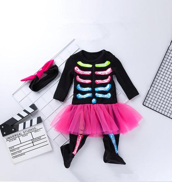 2 шт. Хэллоуин наряды комплекты хэллоуин девочка с длинными рукавами череп комбинезон скелет печатные комбинезоны + повязка на голову младенцы Onesies одежда