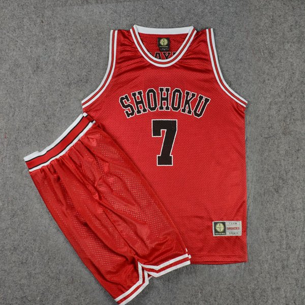 Slam Dunk Shohoku High School No.7 Miyagi Ryota Cosplay Vest & Shorts Basketball Jersey Sets