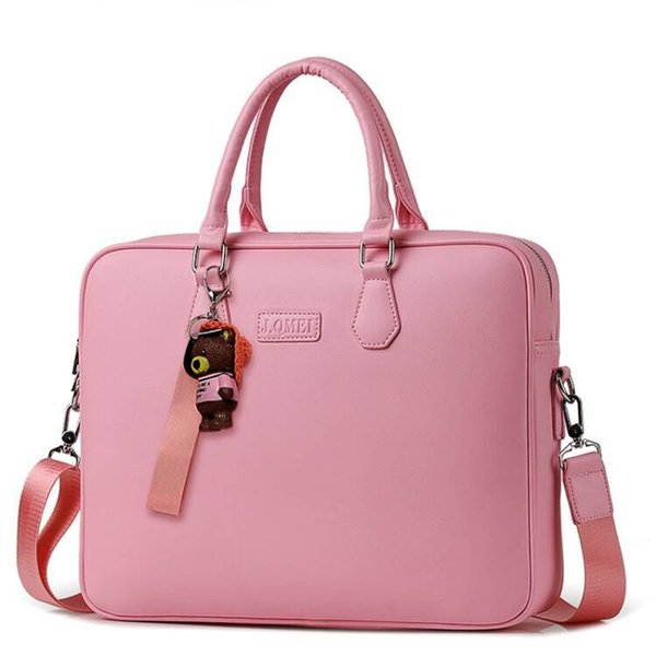 "Gift bear pendant PU waterproof Handbag Laptop Bag 14"" 15"" 15.6inch Sleeve Case For Macbook Notebook Air Pro 15.4 Shoulder Bags"