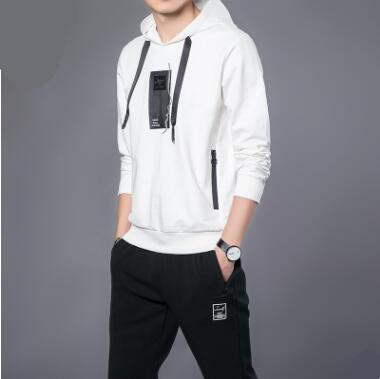 2018 Autumn Men's Casual Sets Teen Simple Trendy Fashion Long-Sleeved Clothes Male Solid Color Sports Suits Loose Large Size