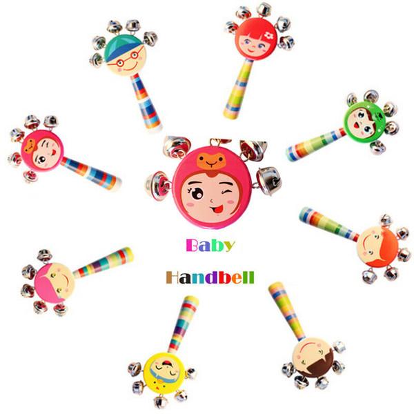 Brand New Random Color Cute Musical Handbells Developmental Baby Mobile Toys Kids Rattle Bed Bell Animal Wood Rattles