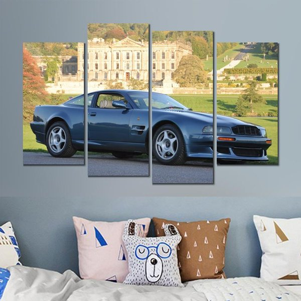 4 sets aston martin vantage blue cars canvas print arts pictures for dining room decor