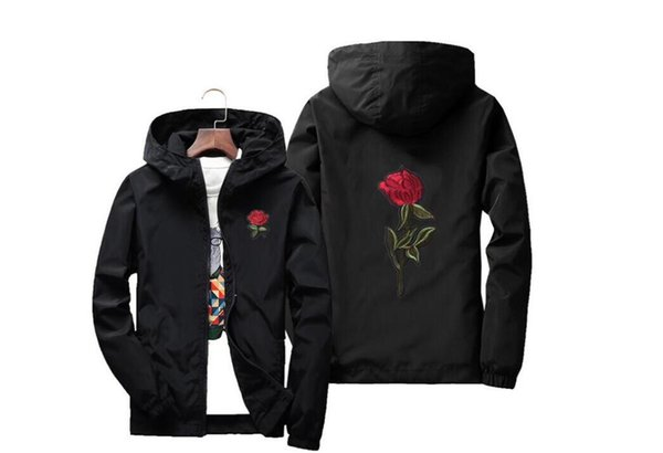 Rose Jacket Windbreaker Men And Women's Jacket New Fashion White And Black Roses Outwear Coat
