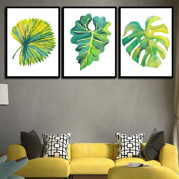 2019 Decor Poster Girl S Room Pictures Prints Painting Green Cartoon Plant Leaves Nordic Watercolor Style Kids Hd Wall Art Canvas From Z793737893