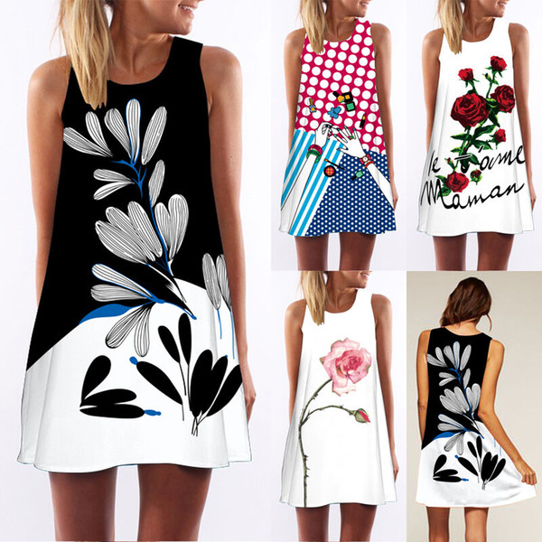 Women Fashion Sexy Tank Top Mini Dress Summer Casual Prom Party Loose Sleeveless T-Shirt Floral Printed Dress