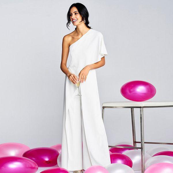 Elegant One Shoulder Ruffles Jumpsuit Casual Solid Female Body Wide Leg Long Pants Jumpsuit Women Office Lady Overalls Romper T4190612