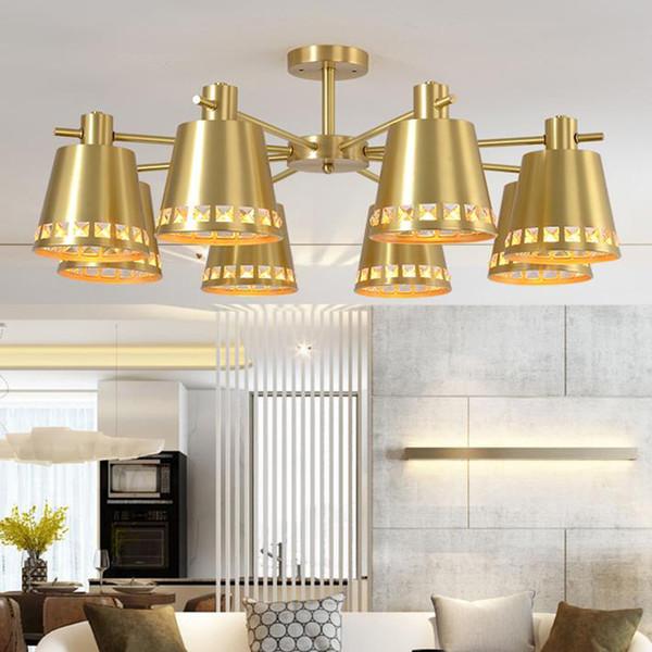 Großhandel Postmodernes Neues Design Kupfer LED Kronleuchter Lichter  Minimalistische Kristall Hängeleuchten Esszimmer Gang Bar LED Kronleuchter  Lampe ...