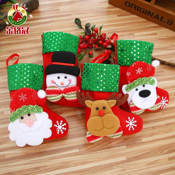 FEDEX Mini suspensão do Natal Meias saco boneco de neve bonito presente de doces Papai Noel veados suportar meia do Natal para árvore de Natal Decor Pendant HOT