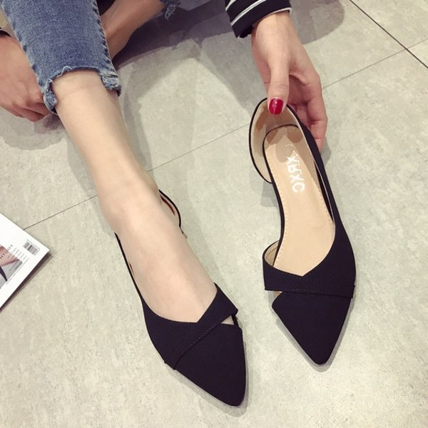 Crystal2019 Woman Shoe Single Shallow Mouth For Xia Bai Sharp Flat Bottom Level With Soft Bottom Black Will Code Work Scoop Shoes Shoes