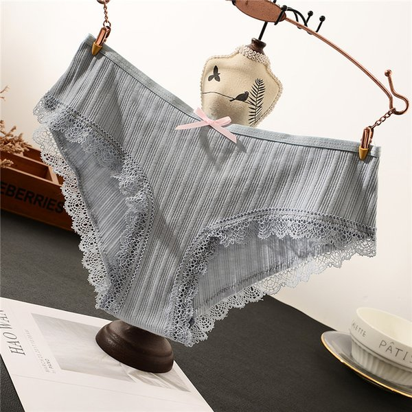 Gray hot style Japanese women's pure cotton crotch comfortable lace little lady in low waist sexy briefs