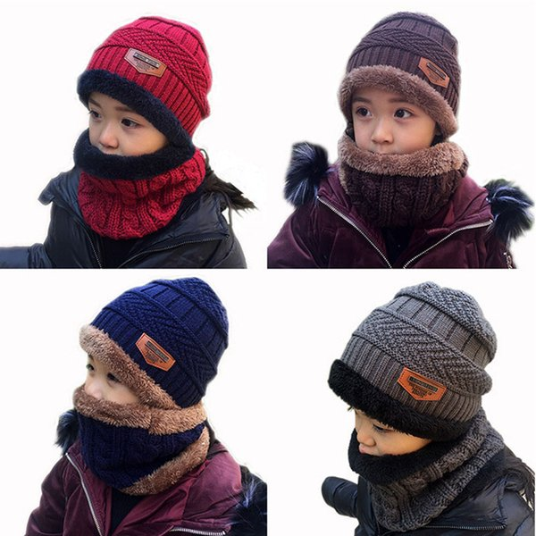 2pcs Kids Warm Knitting Hat & Circle Scarf Thick Fleece Warmer Winter Ski Cap O Ring Scarves Children Skull Beanies Neckerchief