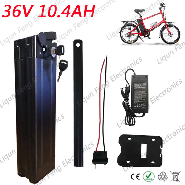 Bottom Discharge Port 500W 36V lithium battery 36V 10Ah Electric Bicycle Battery with Aluminum Case 42V 2A charger 15A BMS.