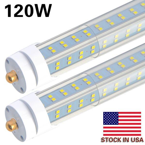 8-20PCS 8FT LED Leuchtröhre, 120W 6000K klare Abdeckung, Einzelstift FA8 Basis, Doppelseite 4 Reihen V-förmig, T8 T10 T12 LED Leuchtstofflampen