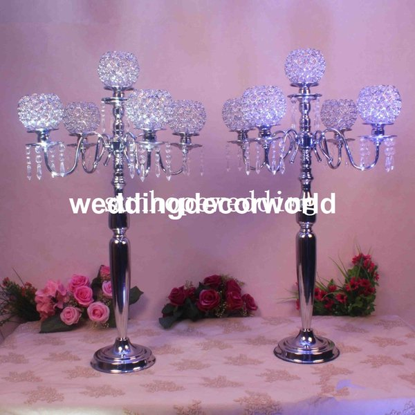 Crystal Candle Holder Wedding Candelabra Centerpiece Center Table Candlestick Lantern stand Party Decor Silver/Gold home dinner decor0674