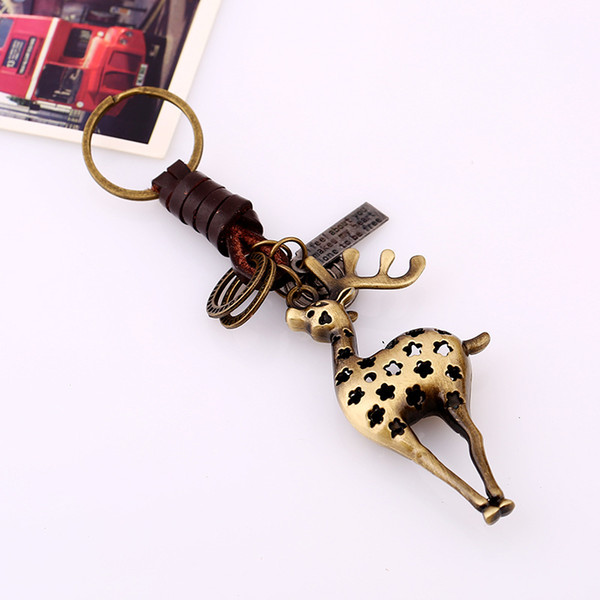 HYS132 Fast Ship Creative Keychain Small Gifts Alloy Deer Vintage Woven Leather Keychain Keychain Backpack Lucky Pendant Hotel Gift DHL