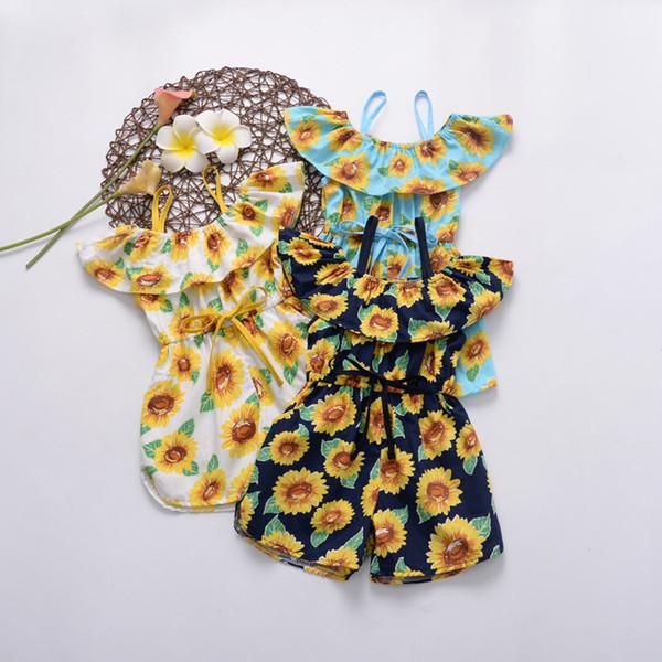 INS Baby Girls Summer Romper sunflower Printed Bow belt Falbala Collar Kids Jumpsuit Fashion Floral Printed Children Onesie Y2017