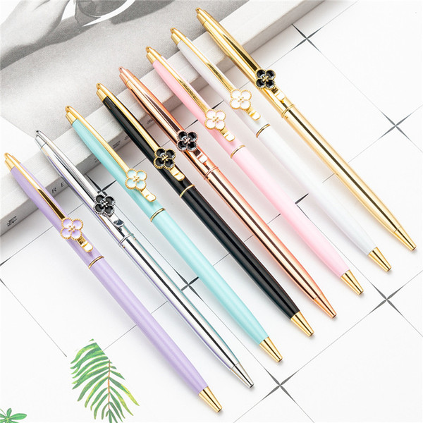 best selling Lucky Clover Advertising Signature Metal Pen Creative Ballpoint Pen Student Teacher Wedding Office School Writing Supplies Pen Gift