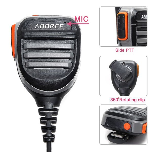 2PCS ABBREE AR-780 Remote Waterproof Shoulder Speaker Mic Handheld Microphone for Kenwood TYT Baofeng Walkie Talkie UV5R UVS9