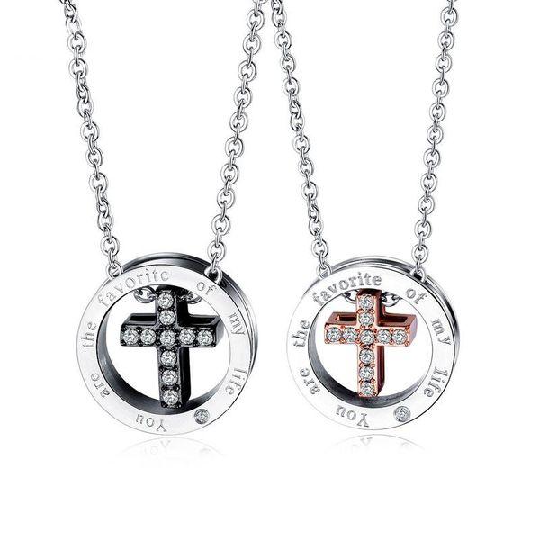 Zircone Cubique Couleur Collier Charms Femme furieux Pendentifs Femmes Bijoux Cross Necklace