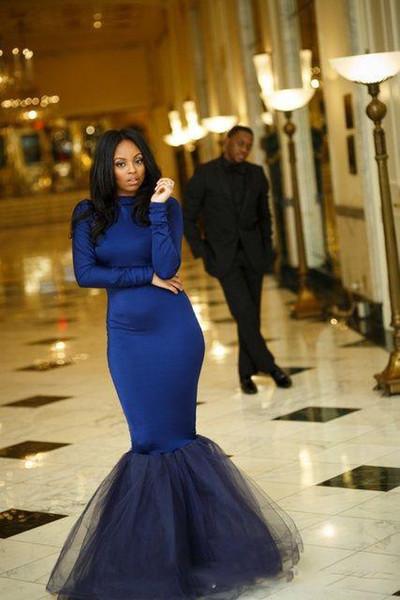 Manches longues robes de bal de sirène nouvelle col haut étage longueur longueur Tull simple robe de soirée formelle