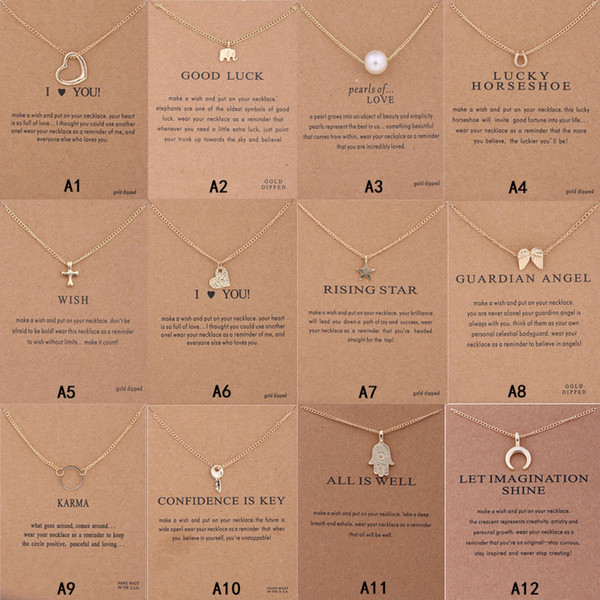top popular New Arrival Dogeared Necklace With Gift card Elephant Pearl Love Wings Cross Key Zodiac sign Compass lotus Pendant For women Fashion Jewelry 2019