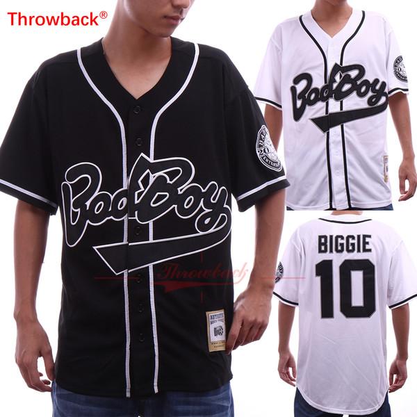 Mens Bad Boy # 10 Biggie Smalls Preto Jersey O Notorious Filme Branco Costurado Quadro De Beisebol Botões de Beisebol Jerseys Tamanho S-3XL