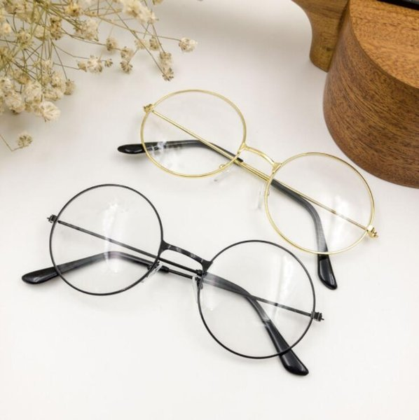 41c77931b958 4 Colors Retro Man Woman Large Glasses Round Eyeglasses Big Children  Transparent Metal Frame Glasses Decoration