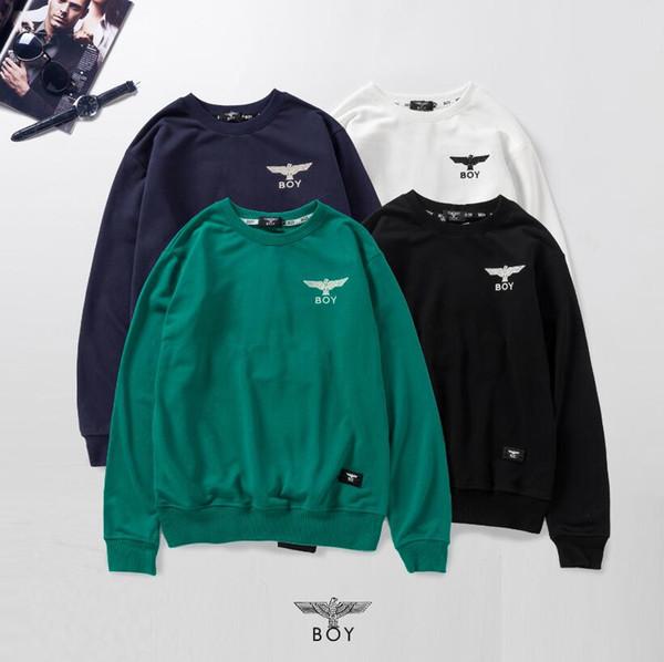 London boy designer sweatshirt mens classique aigle broderie haute qualité pull mode hommes femmes col rond luxe pull terry tissu