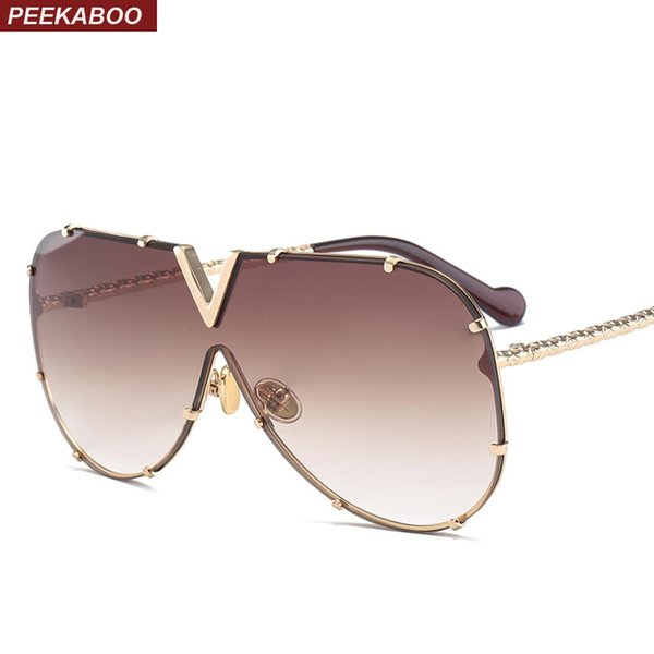 Peekaboo occhiali da sole monopezzo uomo designer di marca 2018 occhiali da sole oversize di alta qualità per donna specchio metallo uv400