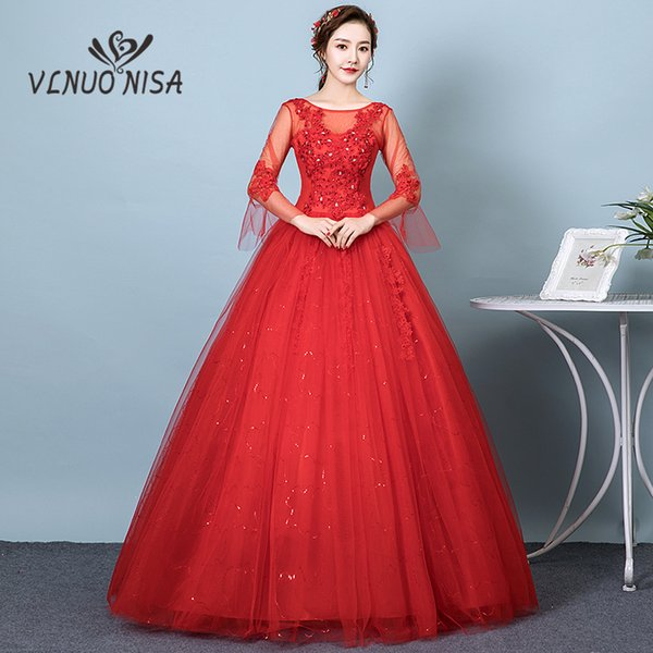wholesale Simple Red Wedding Dress Boat Neck Full Sleeve Backless Plus Size Custom Made Cheap Bridal Gown Vestidos De Noiva