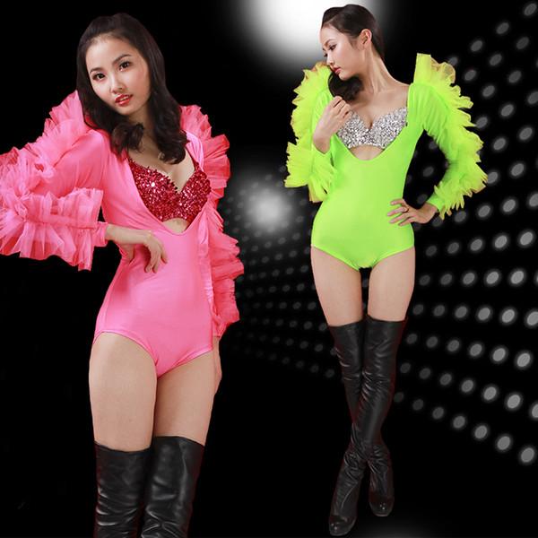 Body Jazz Rave Body Chanteur Sexy Justaucorps Ballerine Collants Tuyau En Acier Moderne DS Pole Dance Vêtements Performance Porter DN1277