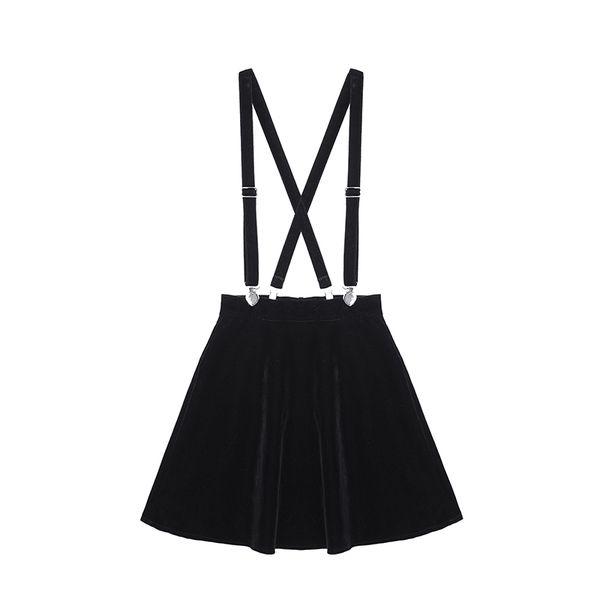 New 2019 Fashion Women's Skirt Harajuku Velvet Punk Love Clip Strap Skirt For Female Ladies Mini Skirts Black good quality drop shipping