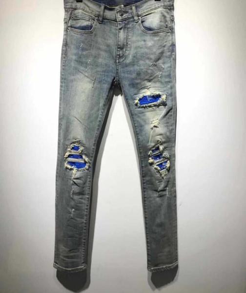 Мужские синие джинсы в полоску в полоску с рельефными узкими джинсами Синие джинсовые брюки