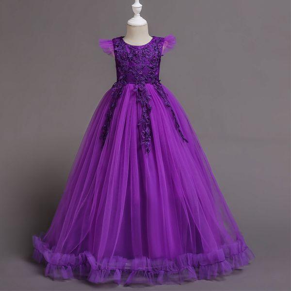 4-14 Yıl Çocuklar Kızlar için Elbise Düğün Tül Dantel Uzun Kız parti Elbise Genç Kızlar için Zarif Prenses Pageant Örgün Önlük