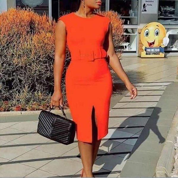 Bee arancione sexy donne di lusso Vestito aderente Spring Fashion OL matita di modo Work abiti stampati