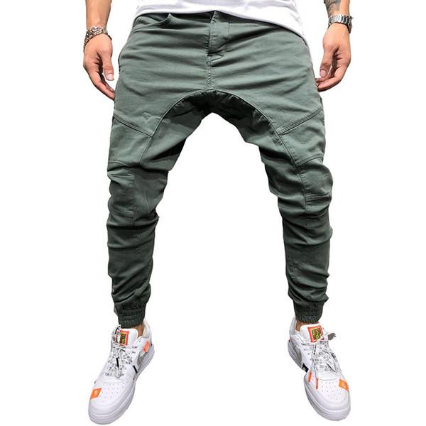 Più nuovo 2019 Pantaloni Uomo Zipper Decorazione Splicing Harem Pantaloni Pantaloni Maschili Pantaloni Solidi Pantaloni Della Tuta Trasporto di Goccia Abz150 Q190416